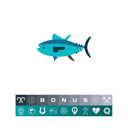 Isolated tuna. Catch, water, wildlife. Fish concept. Can be used for topics like fishing, zoology, cooking. Illustration