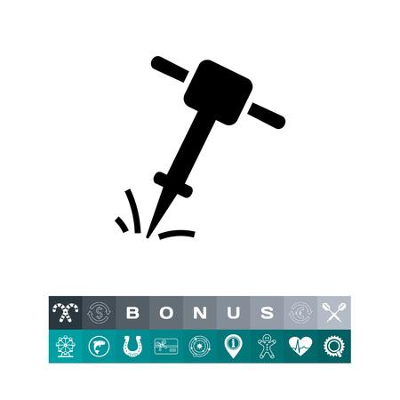 vibrating: Icon of working jackhammer