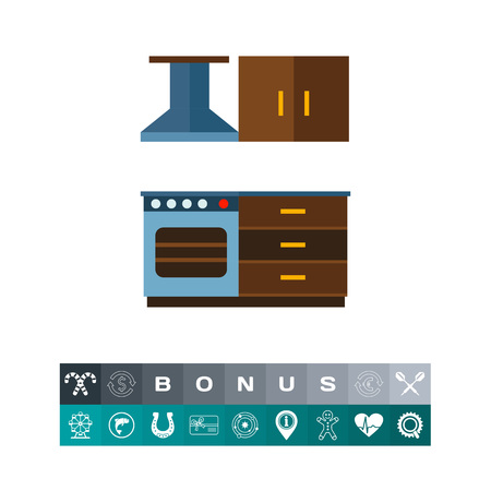kitchen cabinets: Multicolored vector icon of kitchen interior including cooker with oven and kitchen hood, cupboard