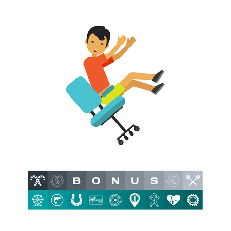 slip homme: Falling from Chair Flat Icon Illustration