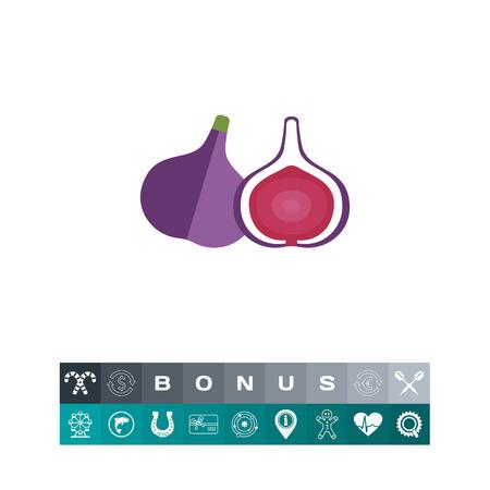 무화과 잘라 무화과 과일 아이콘 그림의 벡터 아이콘. 일러스트