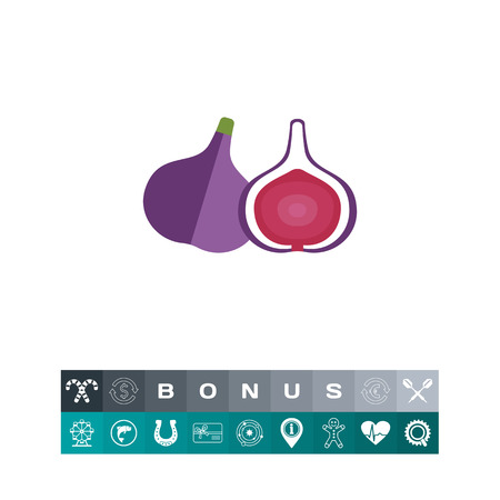 A Vector icon of fig and cut fig fruit icon illustration. Ilustrace