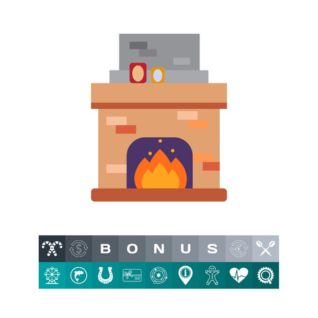 Vector icon of brick fireplace with flame decorated with photo frames Illustration