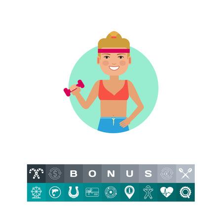 Fitness woman holding dumbbell