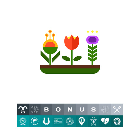 Flower bed icon Illustration
