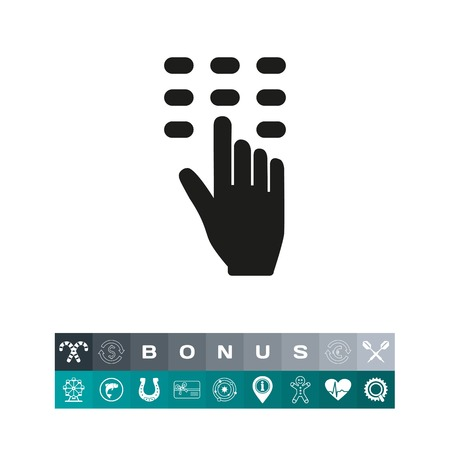 pin code: Icon of safe code. Inserting, pushing button, hand. Security concept. Can be used for topics like safety, password, combination, access Illustration