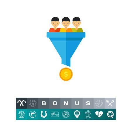 Sales conversion funnel icon Illustration