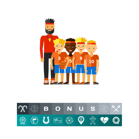 School boys basketball team with coach. Basketball game, sport, team game. Team game concept. Can be used for topics like sport, basketball game, team