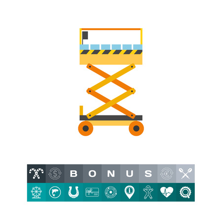 Vector icon of scissors lift. Building, construction site, engineering. Elevators concept. Can be used for topics like construction, industry, labor