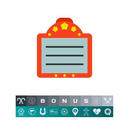 Icoon van scorebord met tekst. Tijdschema, klembord, checklist. Bioscoop concept. Kan worden gebruikt voor onderwerpen zoals scenario, bericht of aankondiging Stockfoto - 83488822