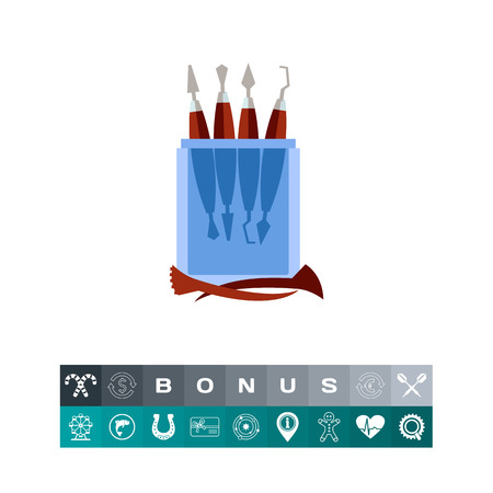 Illustration of sculpting tools in box. Sculpture, instruments, sculptor, occupation, hobby. Art concept. Can be used for topics like art, sculpture, creativity, hobby