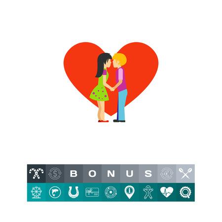 innamorati che si baciano: Silhouette of kissing people vector icon