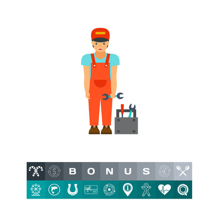 Smiling mechanic icon