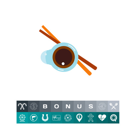 Icon of soy sauce and chopsticks. Condiment, food, traditional food. Sauce concept. Can be used for topics like recipe, sushi or Japanese cuisine Illustration