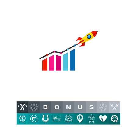 Startup Growth and Rocket Icon Vetores