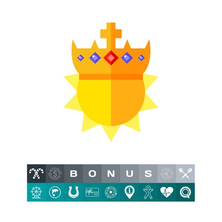Sun in Golden Crown Icon Illustration