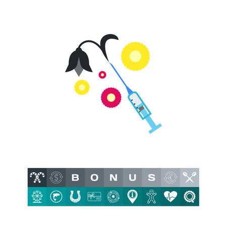 Syringe with slack flower vector icon