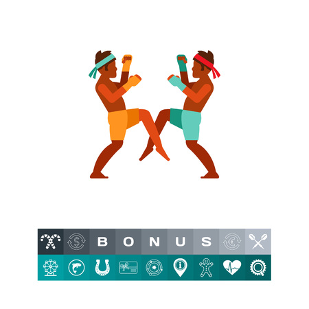 Thai men boxing icon Illustration