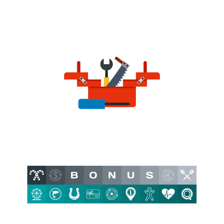 Toolbox with wrench, screwdriver and saw icon Illustration