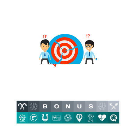 teamwork cartoon: Two businessmen at broken target. Goal, team, confused. Broken target concept. Can be used for topics like business, teamwork, planning, management.