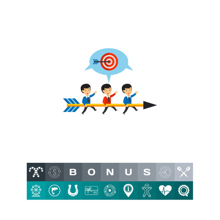 Team carrying big arrow and running to target. Goal, challenge, strategy. Team objectives concept. Can be used for topics like business, teamwork, planning, management. Illustration