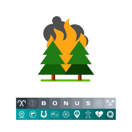 conflagration: Vector icon of wildfire in forest. Drought, conflagration, disaster. Natural disaster concept. Can be used for topics like environment, ecology, safety instructions Illustration