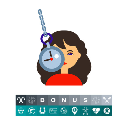 Illustration of female character and clock on chain. Woman under hypnosis, mental therapy, manipulation. Psychoanalysis concept. Can be used for topics like mental health, hypnosis, healthcare