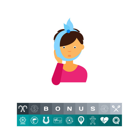 Icon of woman having toothache. Illness, dentistry, pain. Healthcare concept. Can be used for topics like disease, cavity, inflammation