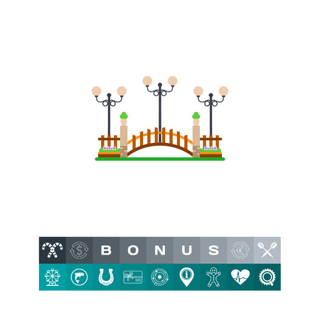 Vector icon of wooden bridge with streetlights. Park, landscape design, decoration. City landscape concept. Can be used for topics like architecture, city, design