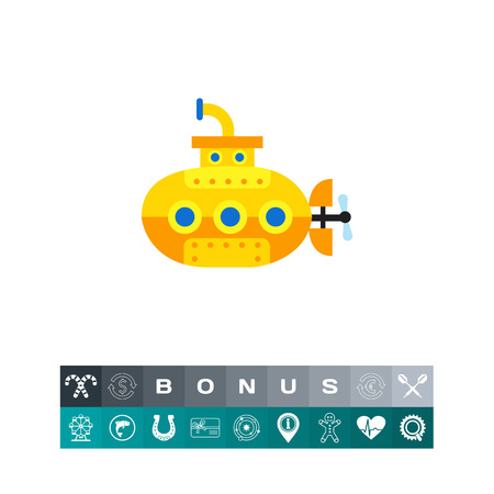 Icon of yellow submarine. Vessel, discovery, traveling. Vacation concept. Can be used for topics like sea, boat, transportation Illustration