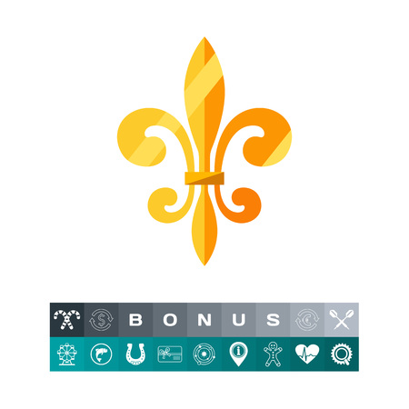 Golden royal French lily icon. French kingdom, middle ages, royal emblem. French history concept. Can be used for topics like France, history, royal dynasty Illustration