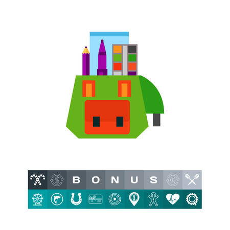 Icon of school bag. Backpack, supplies, studying, satchel. Education concept. Can be used for topics like college, university, school Illustration