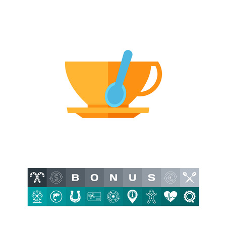 Illustration of tea spoon in cup. Coffee cup, saucer, restaurant, cafe, coffee break. Cafe concept. Can be used for topics like coffee break, restaurant, cafe