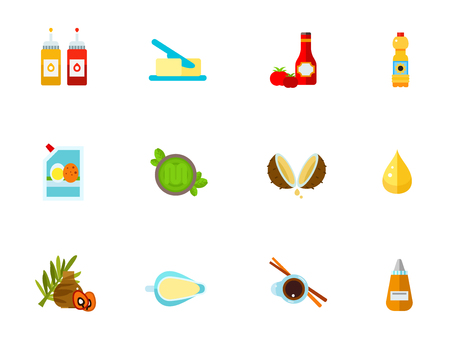 Condiments icon set. Vector illustration.
