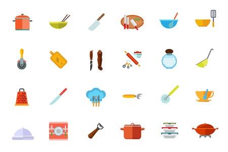 pizza cutter: Cooking vessels, kitchen utensils icon set. Vector illustration. Illustration
