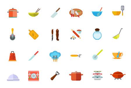 Cooking vessels, kitchen utensils icon set. Vector illustration. Illustration