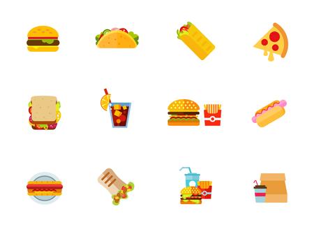 Fast food icon set. Vector illustration.