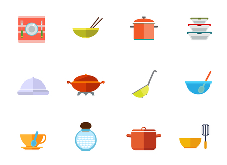 Kitchen utensils icon set. Plate With Fork And Knife Bowl With Chopsticks Saucepan Lunchboxes Set Cloche Colander Cup With Spoon Millet Jar Bowl And Whisk