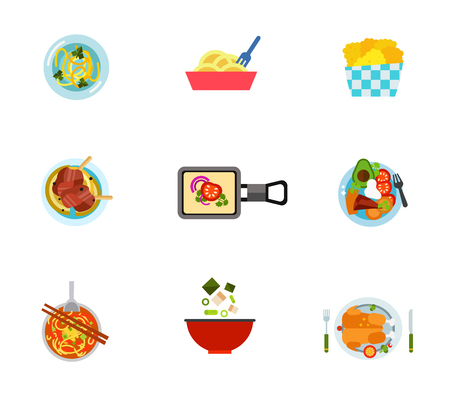 National food icon set. Soup With Noodles Chicken Nuggets Tradit Reklamní fotografie - 83570991