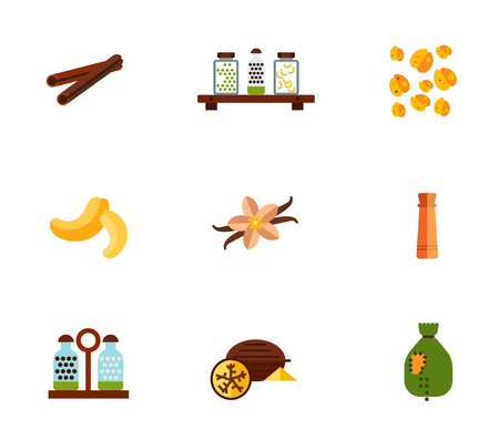 Spices icon set. Cinnamon Stick Jars With Peas And Pasta On Shelf Oat Grains Cashew Vanilla Flower And Sticks Pepper Mill Salt And Pepper Shakers Nutmeg Sack With Falling Out Peas