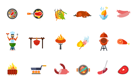 roasting pan: Summer picnic food icon set. Grilled Steak Barbeque Tools Pig Chicken Drumstick Sausage Grilling Man Pot Marshmallow Ham Ribs Frying Pan Meat Products Fish