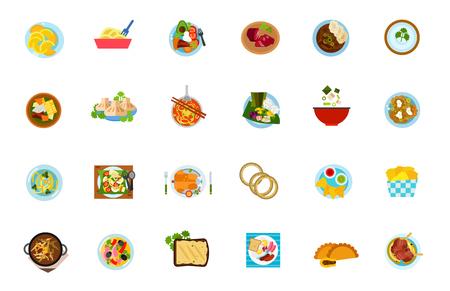 Traditional food icon set. Dumpling Noodle Sobrebarriga Sudada Basturma Beef Goulash Bechamel Sause Khinkali Nam Ngiao Laulau Miso Soup Boxty Gado-Gado Chicken Onion Rings Tortilla Chips Harira