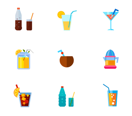 Tropical beverages icon set