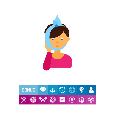 Woman with toothache icon Illustration