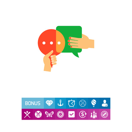 debating: Speech bubbles with shaking hands icon