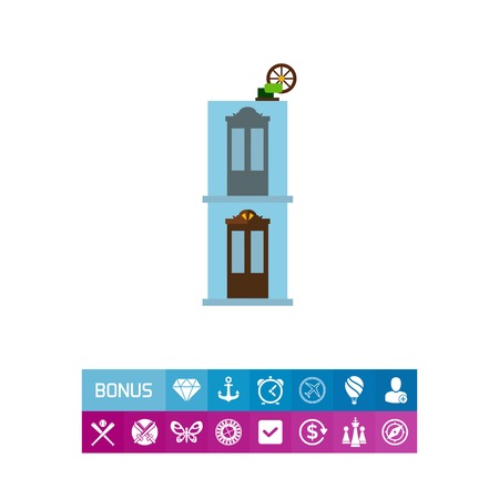 Building with old elevator vector icon