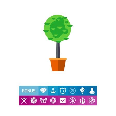 Trimming boxwood tree in pot icon Illustration