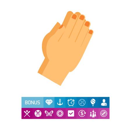 Vector Icon Of Praying Hands Gesture Body Language Spirituality