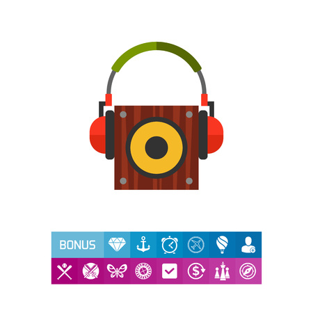 Icon of loudspeaker and professional headphones. Audio, electronics, sound. Music recording concept. Can be used for topics like music, entertainment, production