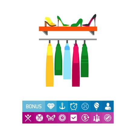 hangers: Rack in fashion shop icon Illustration